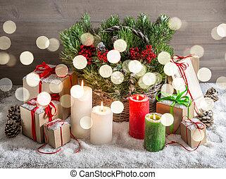 bodegón de navidad, con, abrasador, velas, caja obsequio, luces