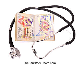 bodegón médico, con, estetoscopio, y, passport.