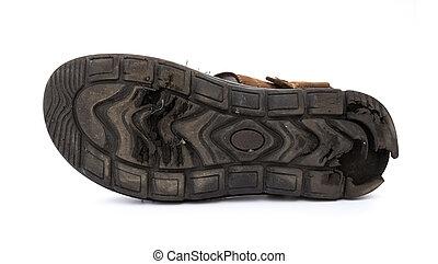 bodem, van, een, slecht, afgesloofd, sandaal, op wit