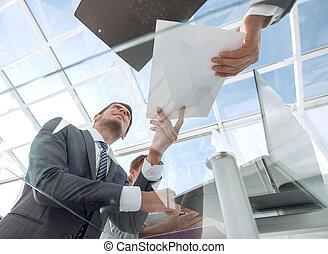 bodem, view.business, team, werken, met, zakelijk, documents.