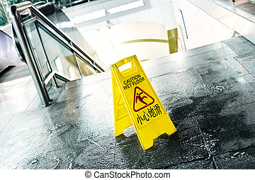 boden, ausstellung, zeichen, warnung, achtung, nasse