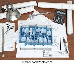 boden, haus, schreibtisch, übertragung, architect., modell, ...