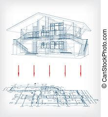 boden, haus, stilisiert, vektor, plan., modell
