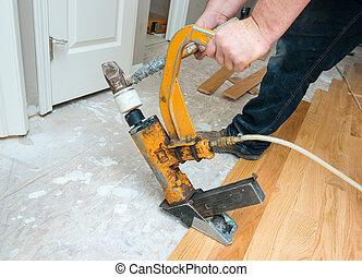 boden, installation, hartholz