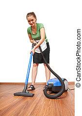 Blaues tuch frau putzen boden bild suche foto for Boden putzen