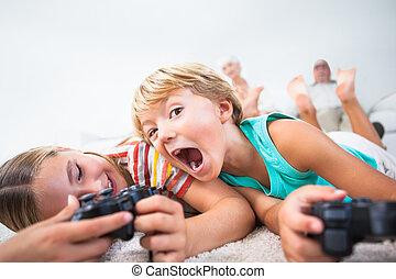 boder søster, boldspil spille video, og, have morskab