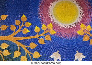 bodhi, 잎, 와, 태양, 통하고 있는, 푸른 하늘