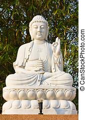 bodhisattva, estátua, sentando