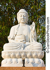 bodhisattva, sentando, estátua