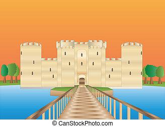 Bodiam castle at sundown - Bodiam castle in Sussex England