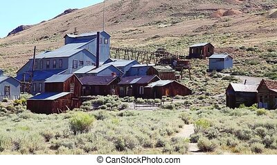 the standard mill which processed ore from the mine. Bodie state historic park, abandoned Californian Ghost Town. Historic United States of America of the 1800s, close to Yosemite national park.