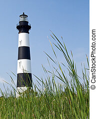 Bodie Island Lighthouse, Cape Hatteras National Seashore, North Carolina viewed from the reed grass.