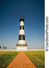 bodie island lighthouse with clear blue sky - bodie island...