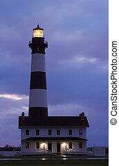 bodie wyspa, latarnia morska, przed, wschód słońca