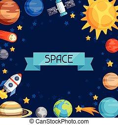 bodies., bolygók, égi, háttér, rendszer, nap-