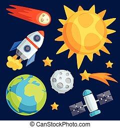 bodies., celestial, planetas, sistema, ilustração, solar