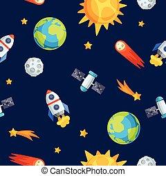 bodies., niebiański, planety, próbka, system, seamless, ...