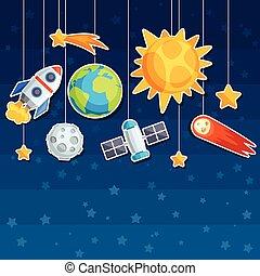 bodies., planètes, céleste, fond, système, solaire