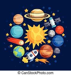 bodies., planeet, hemels, achtergrond, systeem, zonne