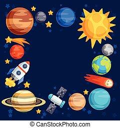 bodies., planetas, celestial, fundo, sistema, solar