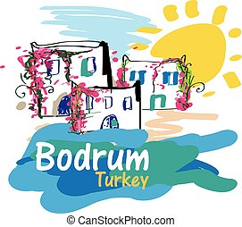 Bodrum Illustration - Colorful illustration of Bodrum, a...