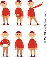 body., מצחיק, schoolboy., animation., צפה, עצב, ציור היתולי, character., עבודה