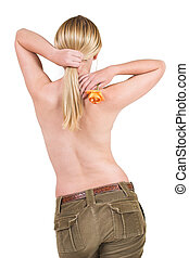 Body #5 - Naked female torso in jeans, with rose