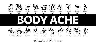 Body Ache Minimal Infographic Banner Vector