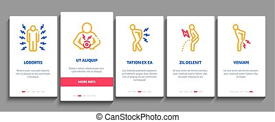 Body Ache Onboarding Elements Icons Set Vector