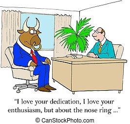 Body Art - Business cartoon of boss saying to bull worker,...