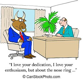 Body Art - Business cartoon of boss saying to bull worker,...