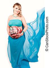 body-art, femme, elle, pregnant, ventre, bébé
