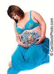 body-art, vie, femme, elle, pregnant, ventre, mer