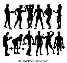 Body Builder and weightlifting Activity Silhouettes