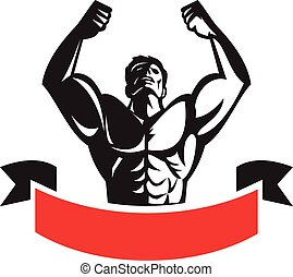 Body Builder Flexing Muscles Banner Retro