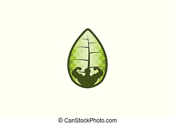 Body Builder Fresh Fitness, and Leaf Logo Designs Inspiration, Vector Illustration