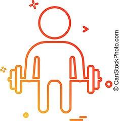 Body builder icon design vector