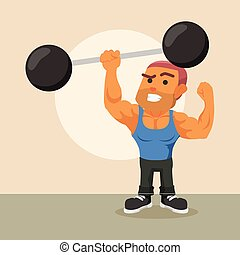body builder lifting giant dumbell with one hand