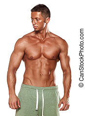 body builder - muscular super-high level handsome man posing...