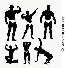 Body builder pose silhouette