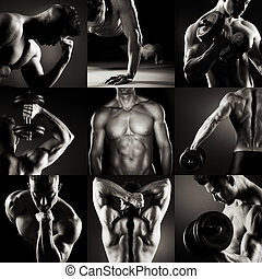 Body builder posing.Various images in a collage on dark...