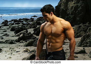 Body Builder - Shirtless bodybuilder on the beach with rocks...
