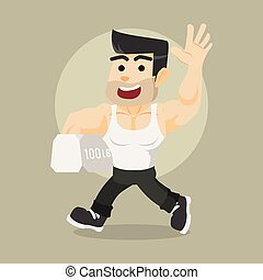 body builder walking carrying