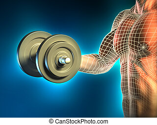 Body building - Conceptual image of a young man doing weight...