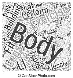 Body Building Exercises Word Cloud Concept