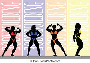Body Building. - Female body builders.