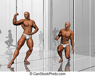 Body building, lifestyle. - 3d illustration, body builders...