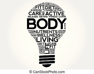 BODY bulb word cloud collage
