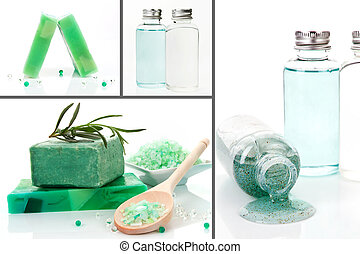 Luxurious body care products background. Soap, bath salt and shampoo and peeling. Collage.