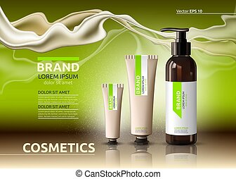 Body care cosmetic set serum and cream ads template. Hydrating facial or body lotions. Mockup 3D Realistic illustration. Sparkling greenery background